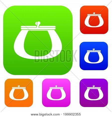 Retro purse set icon in different colors isolated vector illustration. Premium collection