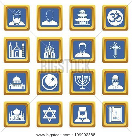 Religious symbol icons set in blue color isolated vector illustration for web and any design