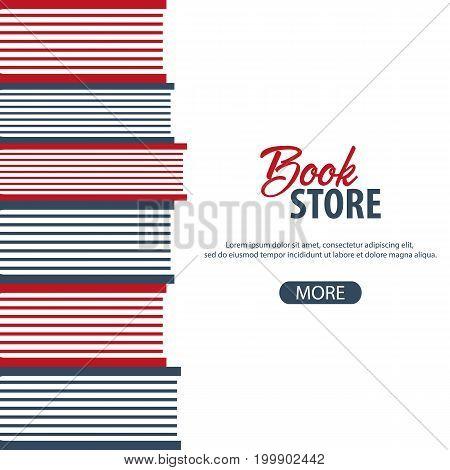 Banner Book Store. Stack Of Books. Vector Illustration.