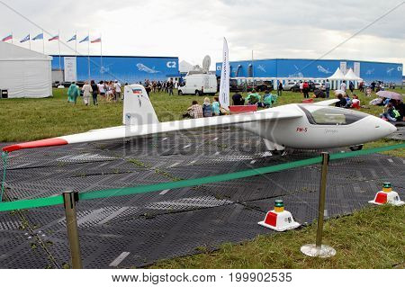 Moscow Region - July 21 2017: Glider PW-5 at the International Aviation and Space Salon (MAKS) in Zhukovsky.
