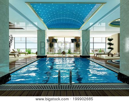 indoor swimming pool and wooden deck relax design idea 3D rendering