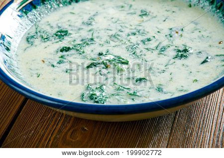 Torshi Tareh Persian Sour Herb Stew close up  traditional meal