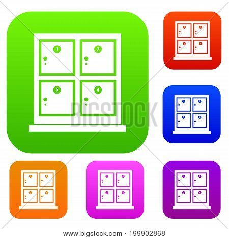 Cells for storage in the supermarket set icon in different colors isolated vector illustration. Premium collection
