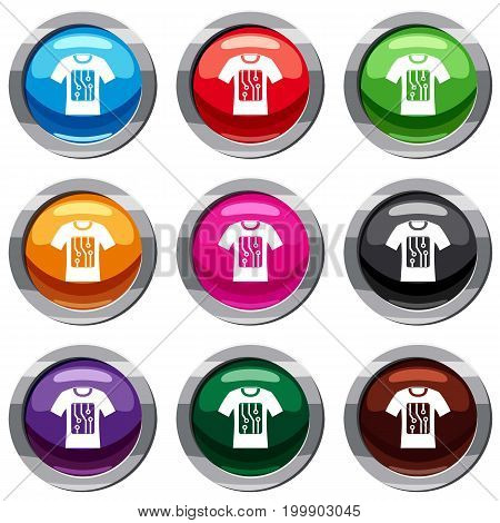 Electronic t-shirt set icon isolated on white. 9 icon collection vector illustration