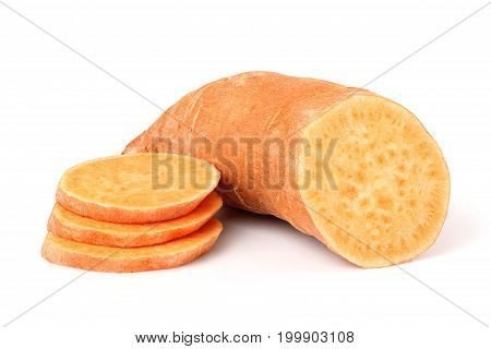Sweet potato in closeup isolated on a white background.