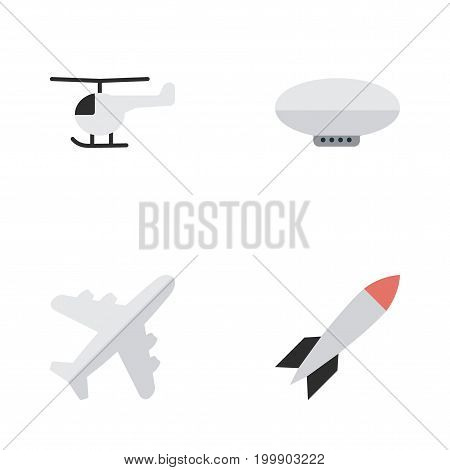 Elements Aircraft, Bomb, Copter And Other Synonyms Chopper, Helicopter And Copter.  Vector Illustration Set Of Simple Airplane Icons.