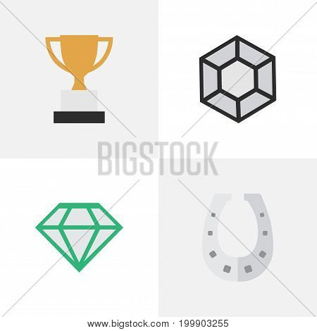Elements Brilliant, Gemstone, Goblet And Other Synonyms Brilliant, Diamond And Horseshoe.  Vector Illustration Set Of Simple Trophy Icons.