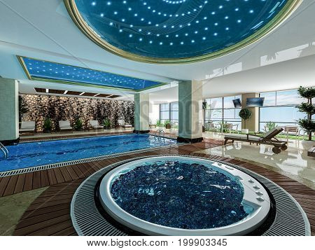 indoor swimming pool jacuzzi and wooden deck relax design idea 3D rendering