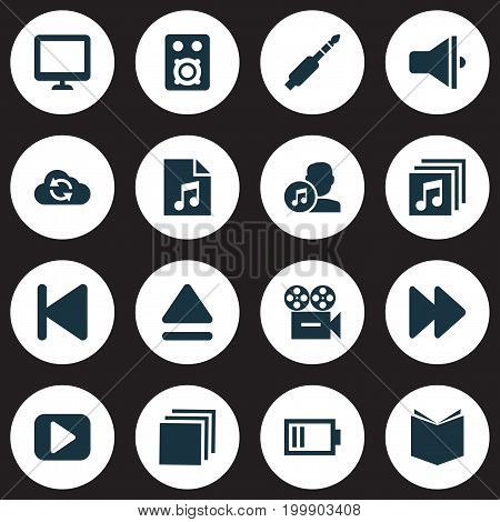 Media Icons Set. Collection Of Composer, Start, Play And Other Elements