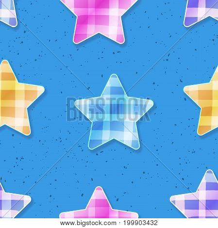 Glossy rounded rating stars with shadow decorated with bright yellow blue pink violet checkered tartan fabric print on textured blue background seamless pattern. Primary school grade symbol design
