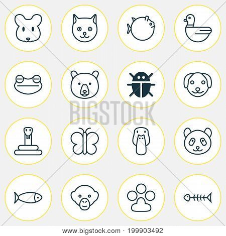 Zoology Icons Set. Collection Of Serpent, Beetle, Butterflyfish And Other Elements