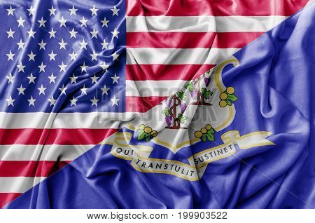 Ruffled waving United States of America and Connecticut flag