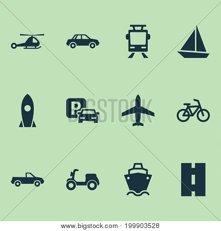 Transport Icons Set. Collection Of Bicycle, Spaceship, Cabriolet And Other Elements