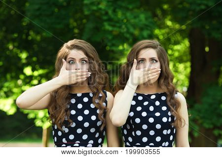 Two beautiful  girl sisters twins for a walk in summer park on a background of greenery with makeup and hairstyle