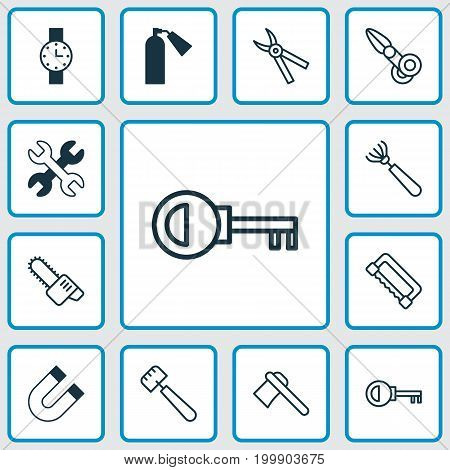 Tools Icons Set. Collection Of Timer, Gasoline Cutter, Spatula And Other Elements