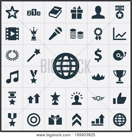 Elements Karaoke, Dartboard, Growth Diagram And Other Synonyms World, Conquering And Miracle.  Vector Illustration Set Of Simple Achievement Icons.