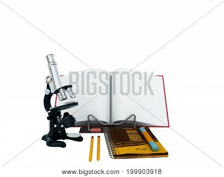 Concept Of School And Education Biology Microscope Notebook 3D Render On White Background No Shadow