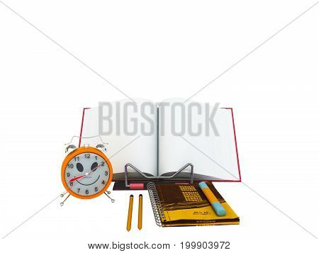 Concept Of School And Education Lesson Microscope Notebook 3D Rendering On White Background No Shado