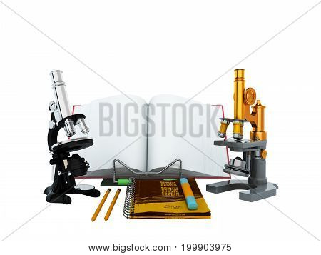 Concepts Of School And Education Biology Microscope 3D Render On White Background No Shadow