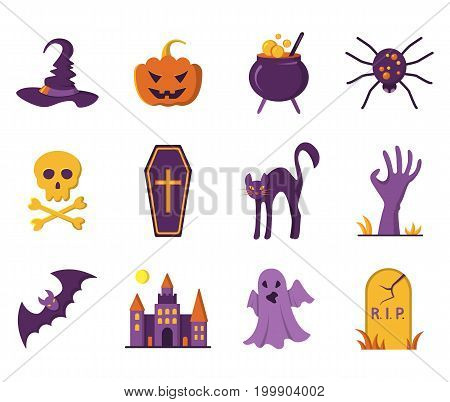 Halloween icons. Design element for Halloween. Vector illustration in flat style for your design.