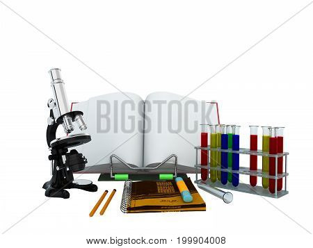 Concepts Of School And Education Biology Test Tubes 3D Microscope Render On White Background No Shad