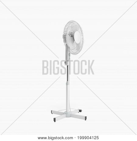 White Electric Fan 3D Render On White Background No Shadow