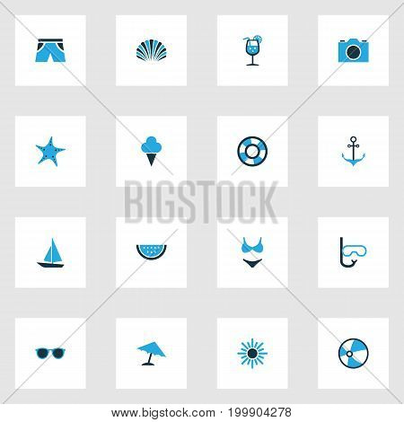 Sun Colorful Icons Set. Collection Of Lifebuoy, Ball, Swimsuits And Other Elements