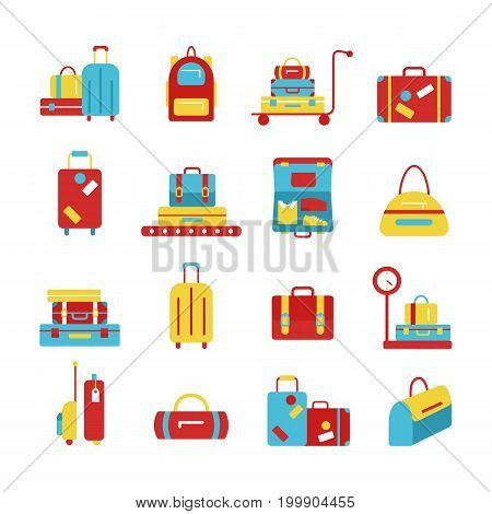 Luggage icon set. Backpack, handbag, suitcase, briefcase, messenger bag, trolley, travel bag. Vector illustration of flat icons for travel. Abstract isolated illustration.