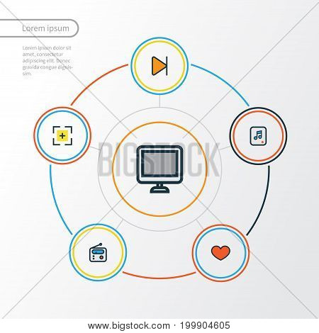 Media Colorful Outline Icons Set. Collection Of Screen, Finish, Heart And Other Elements