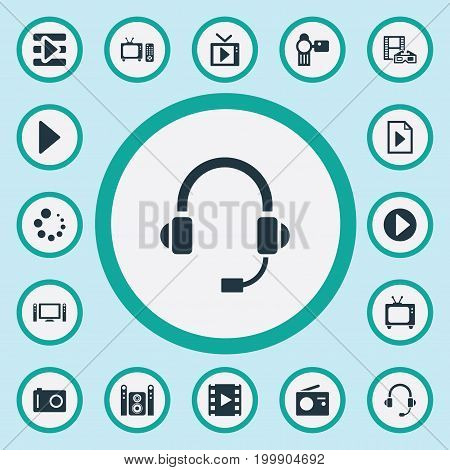 Elements Document, Begin, Start Audio And Other Synonyms Multimedia, Button And Menu.  Vector Illustration Set Of Simple Multi Icons.