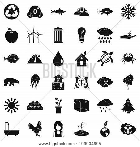 Planet earth icons set. Simple style of 36 planet earth vector icons for web isolated on white background