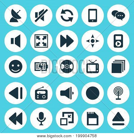 Media Icons Set. Collection Of Arrow, Bullhorn, Next And Other Elements