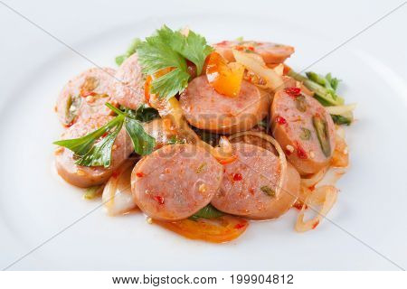 Thai Fusion Food Spicy Sausage Pork Salad. Thailand Style.