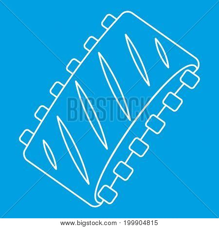 Pork ribs icon blue outline style isolated vector illustration. Thin line sign
