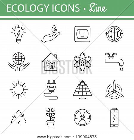 Ecology and energy line icons. Vector illustrations. Editable stroke.