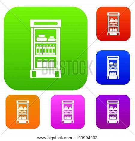 Products in the supermarket refrigerator set icon in different colors isolated vector illustration. Premium collection