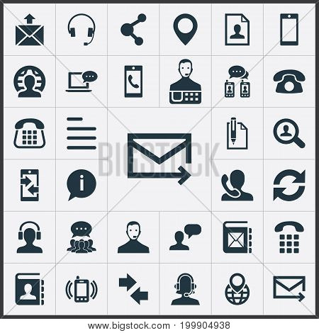 Elements Collective Opinion, Reload, Web And Other Synonyms Collective, Support And Search.  Vector Illustration Set Of Simple Contact Icons.