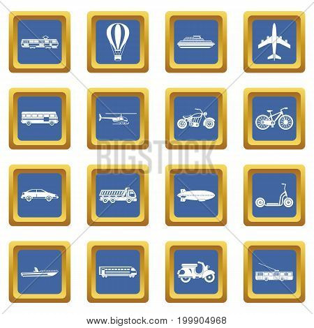 Transportation icons set in blue color isolated vector illustration for web and any design