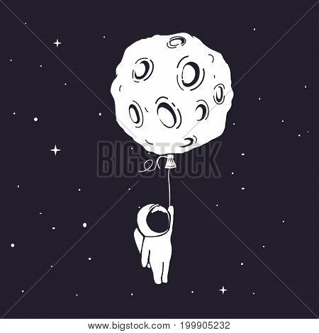 Little astronaut flies and keeps for moon, who like a balloon in outer space.Prints design.Childish vector illustration