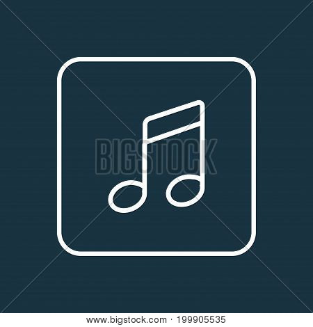 Premium Quality Isolated Melody Element In Trendy Style.  Notes Outline Symbol.