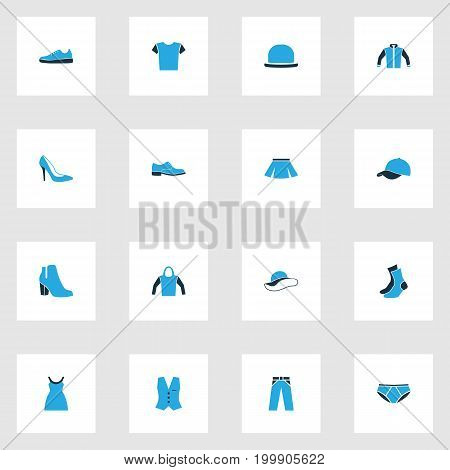 Clothes Colorful Icons Set. Collection Of Sweatshirt, Panama, Trousers And Other Elements