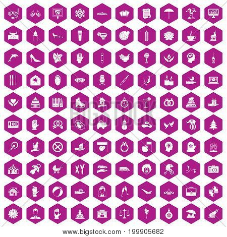 100 joy icons set in violet hexagon isolated vector illustration
