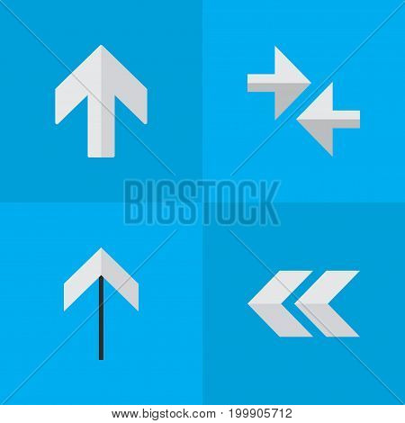 Elements Up, Back, Upwards And Other Synonyms Export, Arrow And Up.  Vector Illustration Set Of Simple Pointer Icons.