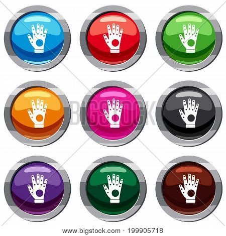 Electronic glove set icon isolated on white. 9 icon collection vector illustration