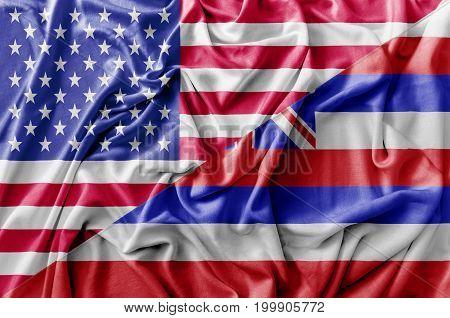 Ruffled waving United States of America and Hawaii flag