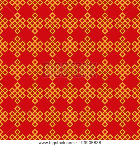 Seamless pattern of the endless knot or eternal knot. Red and yellow ethnic background. Vector illustration.