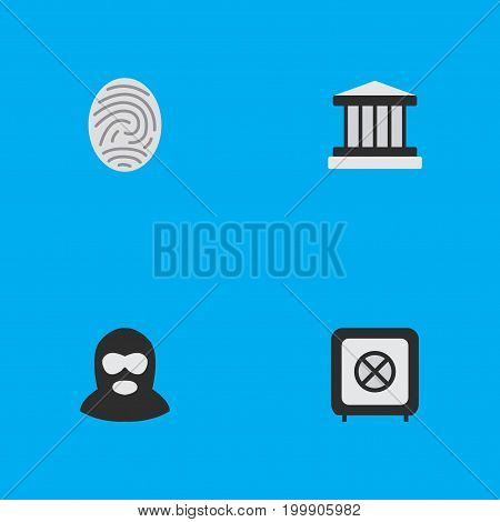 Elements Criminal, Vault, Grille And Other Synonyms Fingerprint, Protection And Jail.  Vector Illustration Set Of Simple Crime Icons.