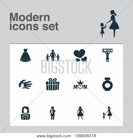 Mothers Day Icon Design Concept. Set Of 12 Such Elements As Placard, Gift And Lady