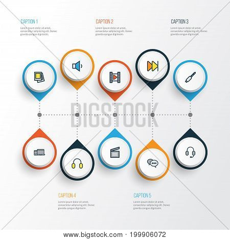 Multimedia Colorful Outline Icons Set. Collection Of Forward, Volume Down, Earmuff And Other Elements