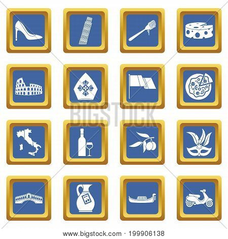 Russia icons set in blue color isolated vector illustration for web and any design